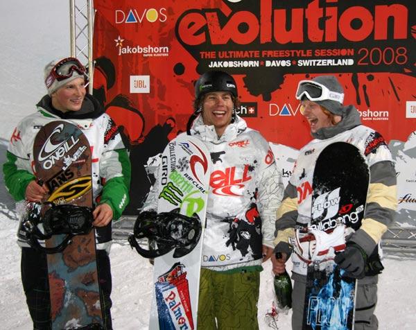 Andy Finch siegte beim O'Neill Evolution in der Halfpipe vor Risto Mattila und Janne Korpi.  Foto: Swatch TTR Worldtour