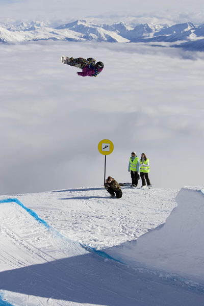 Sébastien Toutant gewinnt die Slopestyle Qualifikation.  Foto: Marcel Lämmerhirt.