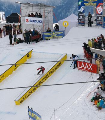 Slopestyle-Finalistin Jenny Jones erkämpfte sich bei den BEOs in Laax die TTR-Weltranglistenführung Foto: Veranstalter