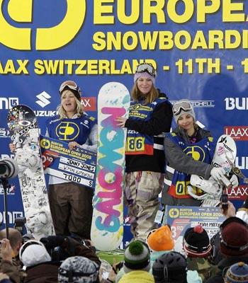 Siegerinnen der BEO Slopestyle 2008: Jenny Jones, Jamie Anderson, Silvia Mittermüller  Foto: Lämmerhirt