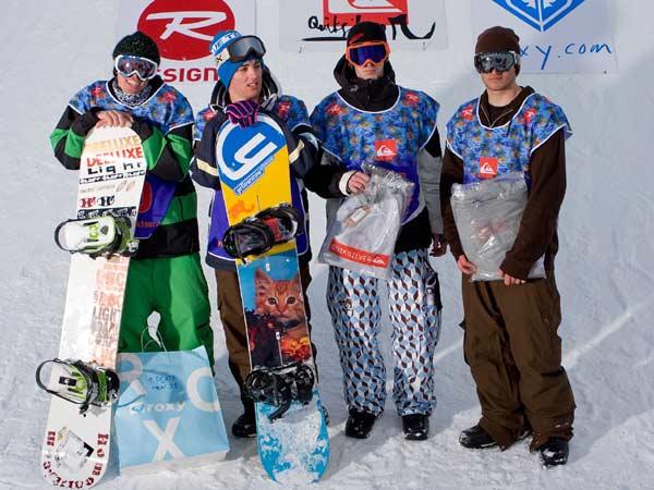 Dominik Weghaupt (AUT),Simon Heinrich (AUT) ,Niklas Hollsten (FIN) und Tom Wagner (AUT); Sieger im Snowboard-Contest beim Snowpark Tourstopp Sillian Foto: Lorenz Holder