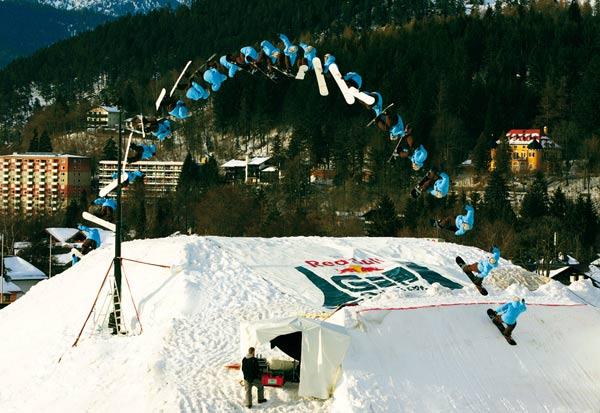 Spektakuläre Sprünge in Garmisch Partenkirchen: die Red Bull GAP Session 2008.  Foto: Red Bull