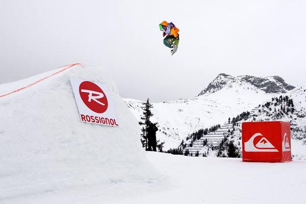 Der Sieger der Snowboarder: Thomas Feuerstein aus Schruns.  Marlon Holzmann aus Vandans