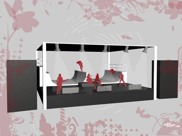 Die Bühne mit integrierter Halfpipe bildet das Kernstück des Festivals.  Grafik: Veranstalter