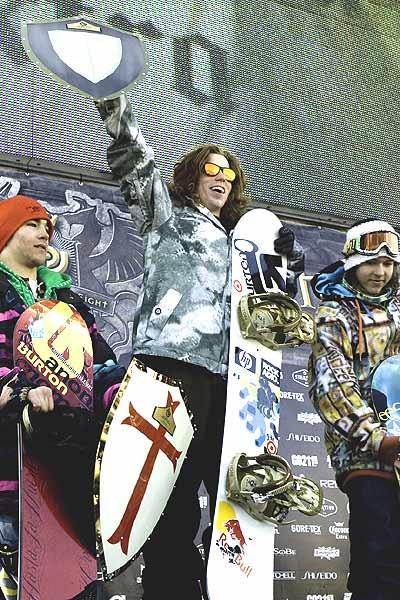 Shaun White, Tim Humphreys und Charles Reid: Slopestyle-Podium der Burton US Open 2008  Foto: Aaron Blatt