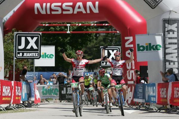 Team Rothaus-Cube 1 gewinnt die siebte und vorletzte Etappe der Bike Transalp 2008.  Foto: Veranstalter