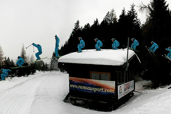 Flo Wieser beim Roofjump.  Foto: Andreas Halser