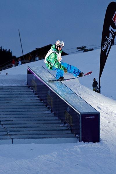 Snowboarder auf der Rail.  Foto: Stefan Eigner