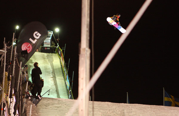 Stefan Gimpl beim Snowboard FIS World Cup 2010 in Stockholm Foto: FIS – Oliver Kraus
