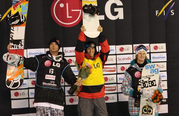 Podium Stockholm vl: Marko Grilc (2.), Stefan Gimpl (1.), Gjermund Braaten (3.) Foto: FIS – Oliver Kraus