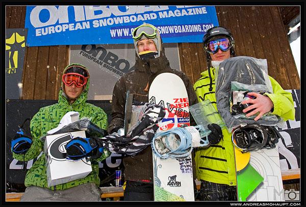 V.l.n.r.: Tobias Hechl (AUT, 3. Platz), Matthias Egger (AUT, 1. Pl), Patrick Cinca (AUT, 3. Pl.).  Foto: Andreas Mohaupt