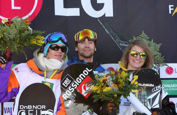 Podium der Herren bei den FIS Snowboard Weltmeisterschaften in Valmalenco 2010.  Foto: FIS-Oliver Kraus