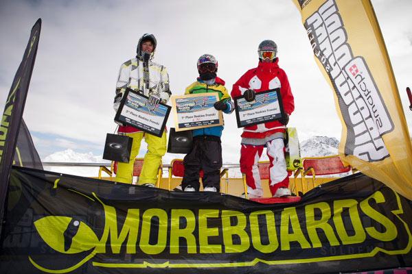 Prizegiving der Rookies beim Freestyle Feast Reloaded im Snowprk Sölden.  Foto: Rudi Wyhlidal
