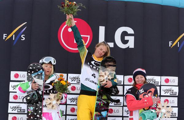 Podium der Ladies beim FIS Weltcup 2010.  Foto: FIS-Oliver Kraus