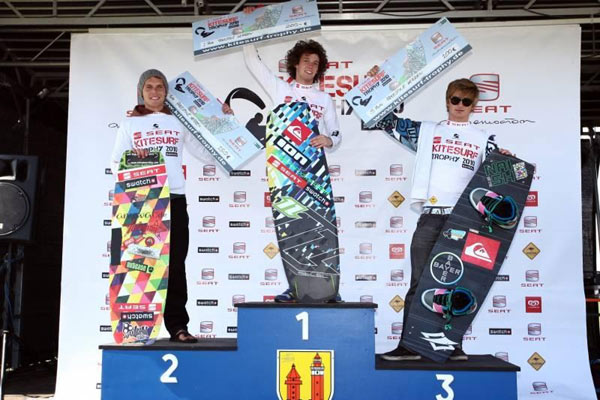 Kitesurf Trophy Siegerehrung Freestyle: Niklas Huntgeburth 2.Pl Mario Rodwald 1.Pl. Rick Jensen 3.Pl Foto: Brand Guides