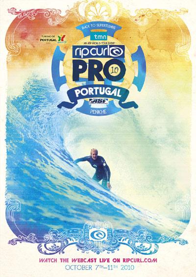 Eventposter zum Rip Curl Pro Event in Peniche in Portugal 2010.  Foto: Rip Curl