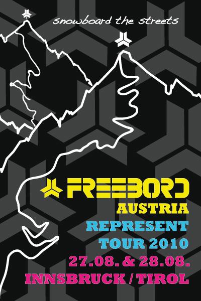 Freebord Flyer Austria Represent Tour.  Grafik: Freebord Austria