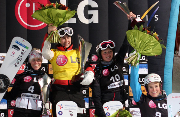 SnowWorld Landgraaf 2010: Podium der Damen.  Foto: FIS – Oliver Kraus