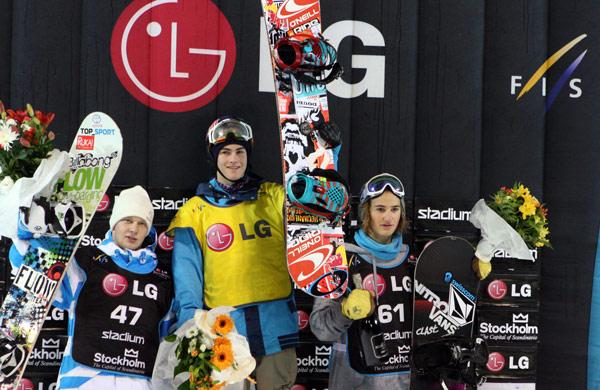 Die Gewinner der Snowboard FIS Weltcups 2010 in Stockholm.  Foto: FIS – Oliver Kraus