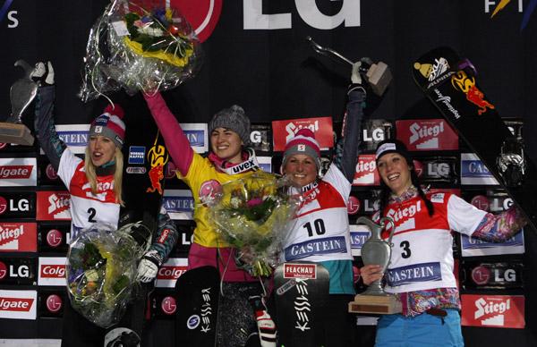 Podium der Damen.  Foto: FIS/Oliver Kraus