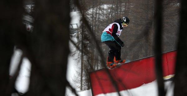 Linus Birkendahl beim Slopestyle-Weltcup in Bardonecchia.  Foto: FIS/Oliver Kraus
