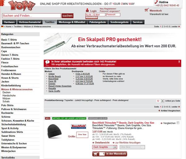 Der Online-Shop YOW!