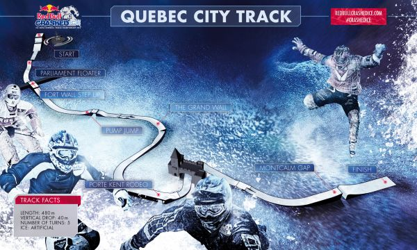 Der Ice Cross Downhill Track in Quebec.  Foto: Red Bull Content Pool